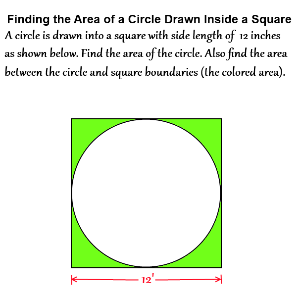 How to find the area of a circle inside a square